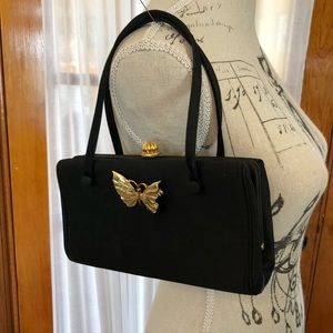 Vintage Coblentz Black Boxy Clutch w Butterfly Pin